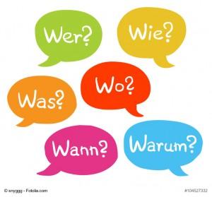 Bunte Sprechblasen: Wer? Wie? Was? Wo? Wann? Warum? / Vektor, handgezeichnet, freigestellt