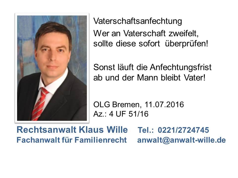 OLG Bremen Vaterschaft 2016